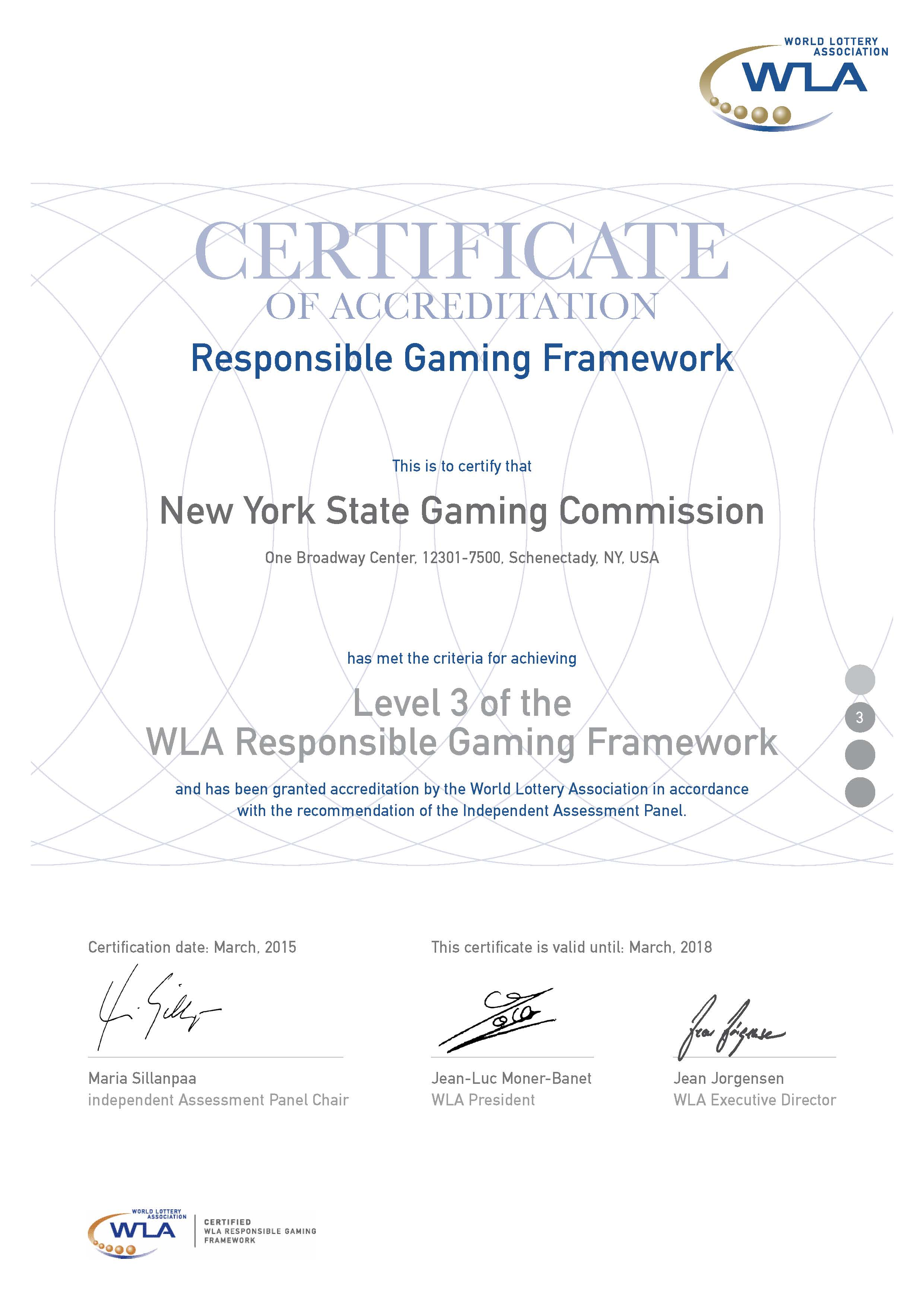 Nys gaming commission responsible gaming xflitez Gallery